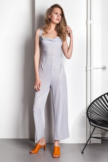 f4456db295 Draped Silver Jumpsuit Draped Silver Jumpsuit